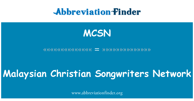 MCSN: Malaysian Christian Songwriters Network