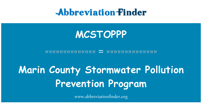 MCSTOPPP: Marin County Stormwater Pollution Prevention Program