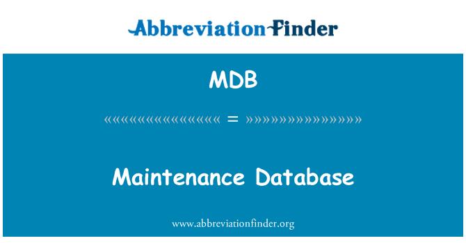 MDB: Maintenance Database