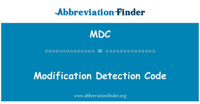 MDC: Modification Detection Code