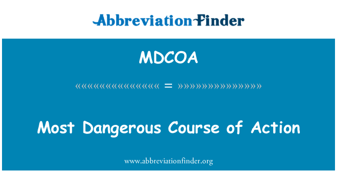 MDCOA: Most Dangerous Course of Action