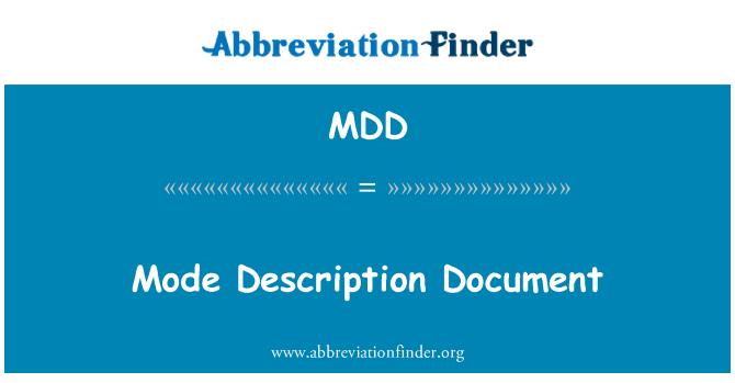 MDD: Mode Description Document