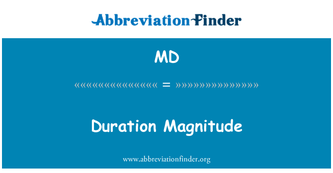 MD: Duration Magnitude