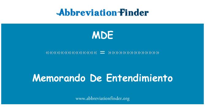 MDE: Memorando De Entendimiento
