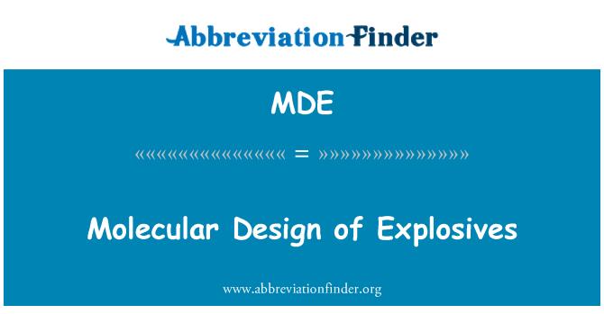 MDE: Molecular Design of Explosives