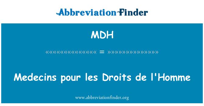 MDH: Medecins pour les Droits de l'Homme