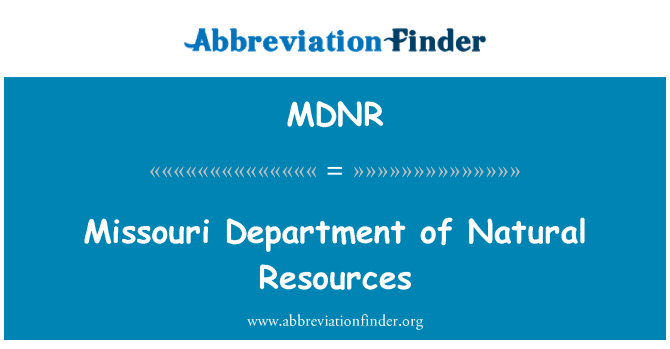 MDNR: Missouri Department of Natural Resources