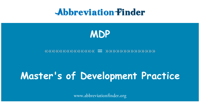 MDP: Master's of Development Practice