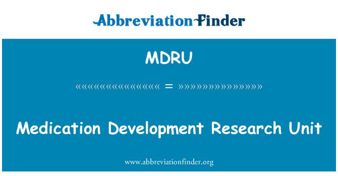 MDRU: İlaç geliştirme araştırma birimi
