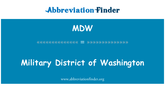 MDW: Military District of Washington