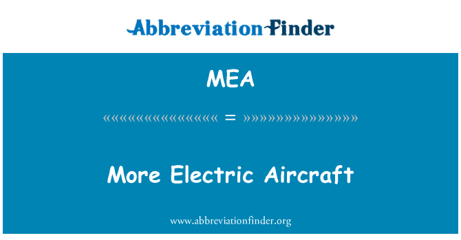 MEA: More Electric Aircraft