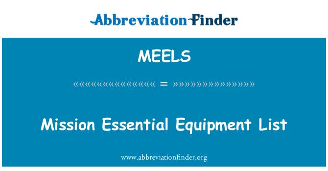 MEELS: Senarai peralatan penting misi