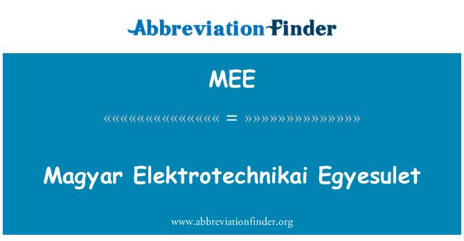 MEE: Magyar Elektrotechnikai Egyesulet