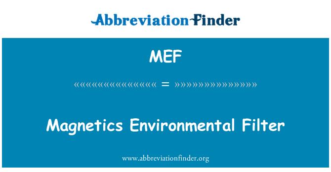 MEF: Magnetics Environmental Filter
