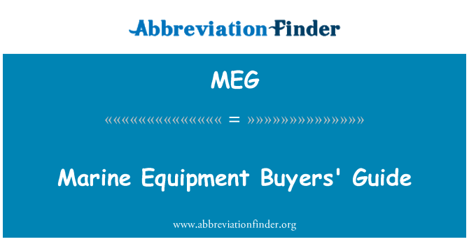 MEG: Marine Equipment Buyers' Guide