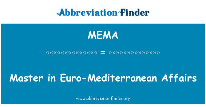 MEMA: Máster Universitario en relaciones euromediterráneas