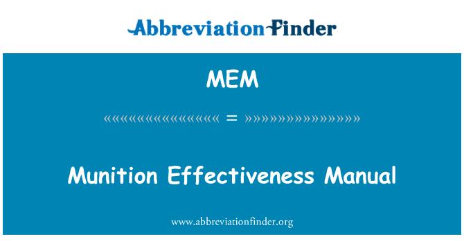MEM: Munition Effectiveness Manual