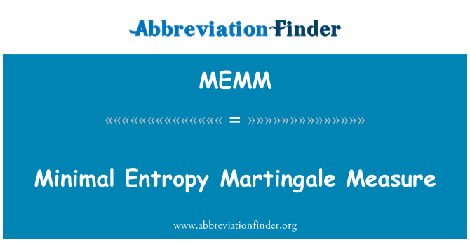 MEMM: Minimal Entropy Martingale Measure