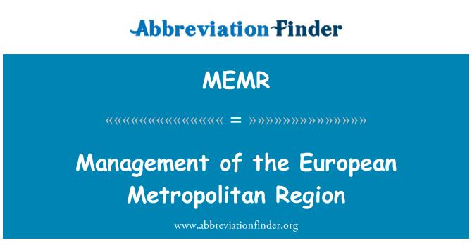 MEMR: Gestión de la región metropolitana europea