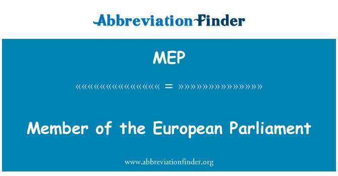 MEP: Member of the European Parliament