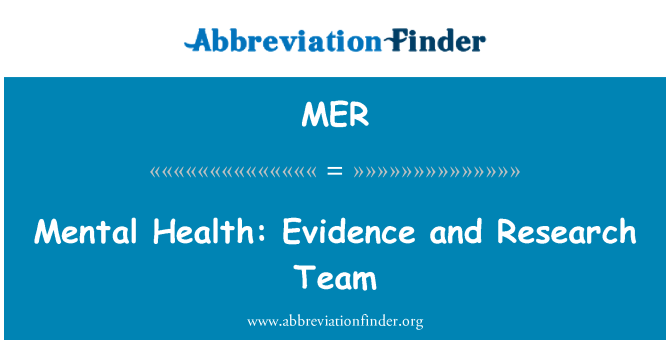 MER: Mental Health: Evidence and Research Team