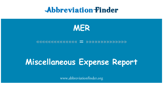 MER: Miscellaneous Expense Report