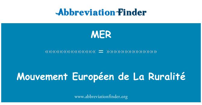 MER: Mouvement Européen de La Ruralité