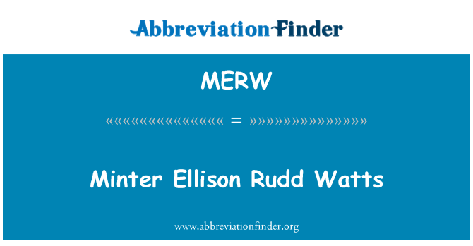 MERW: Minter Ellison Rudd Watts