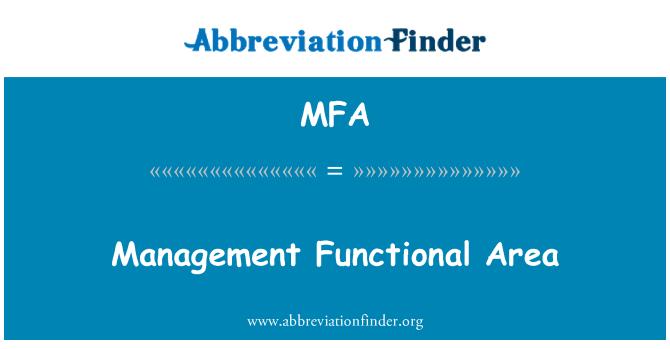 MFA: Management Functional Area