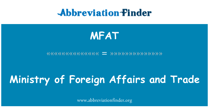 MFAT: Ministry of Foreign Affairs and Trade