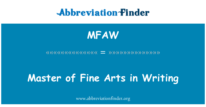 MFAW: Master of Fine Arts in Writing