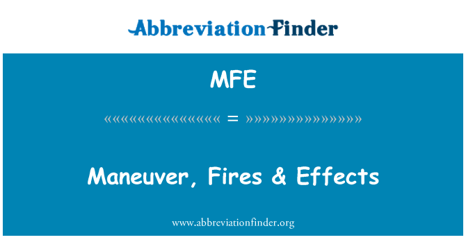 MFE: Maneuver, Fires & Effects