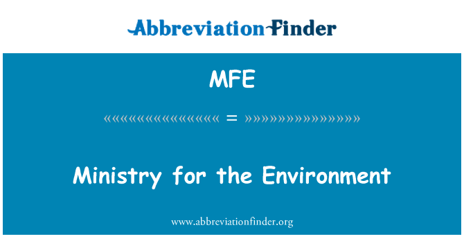 MFE: Ministry for the Environment