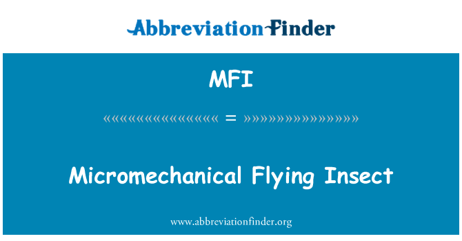 MFI: Micromechanical Flying Insect