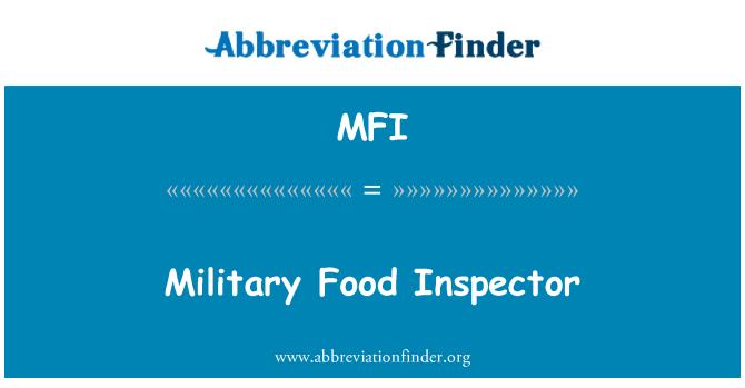 MFI: Military Food Inspector