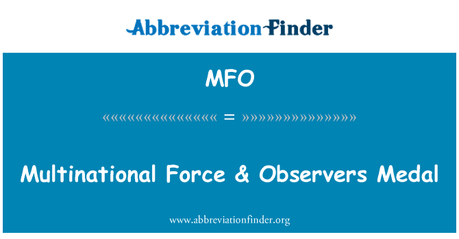 MFO: Multinational Force & Observers Medal