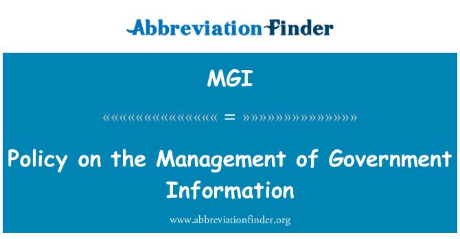 MGI: Devlet bilgi yönetimi ilkesi