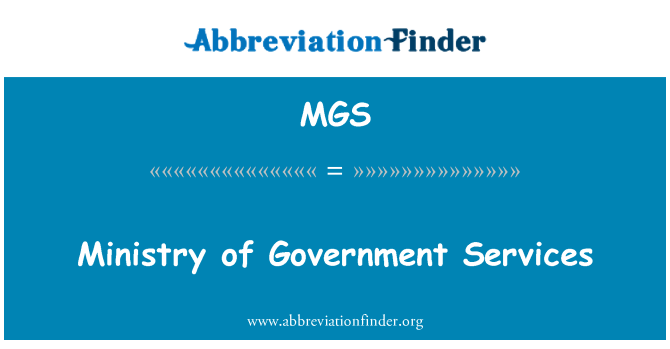 MGS: Ministry of Government Services