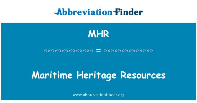 MHR: Maritime Heritage Resources