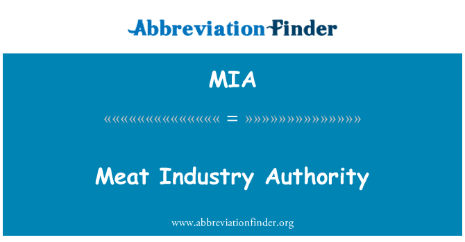 MIA: Meat Industry Authority