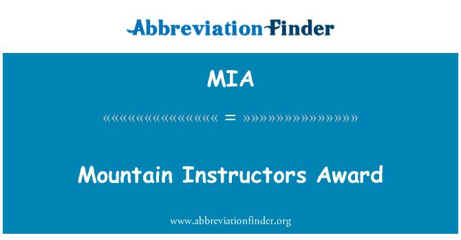 MIA: Mountain Instructors Award