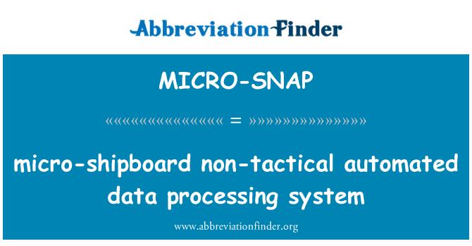 MICRO-SNAP: sistema de procesamiento de datos automatizado no táctico micro-a bordo
