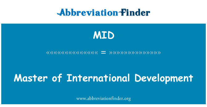 MID: Master of International Development