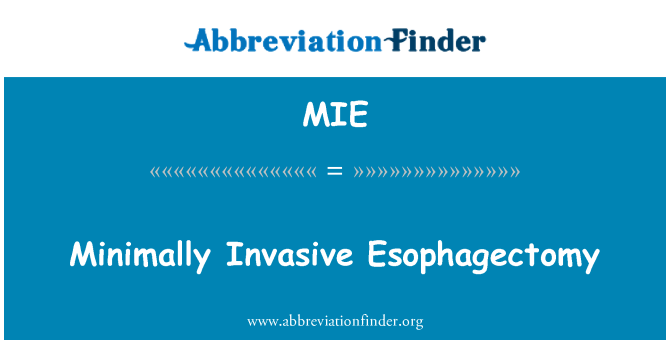 MIE: Minimally Invasive Esophagectomy
