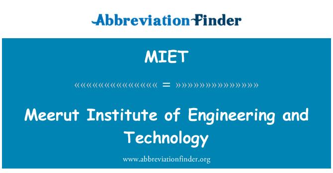 MIET: Meerut Enstitüsü mühendislik ve teknoloji