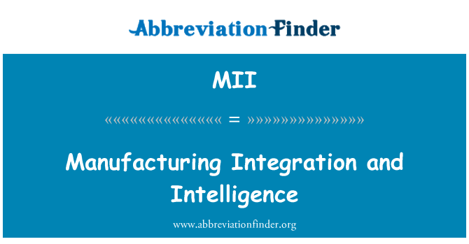 MII: Manufacturing Integration and Intelligence