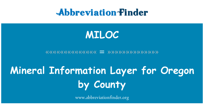 MILOC: Oregon tarafından ilçe mineral bilgi katmanı