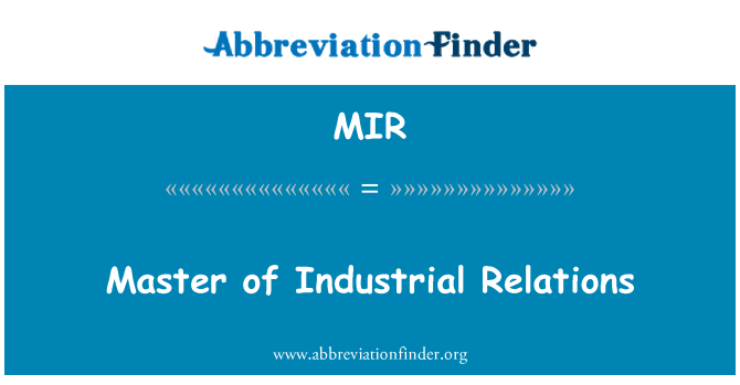 MIR: Master of Industrial Relations
