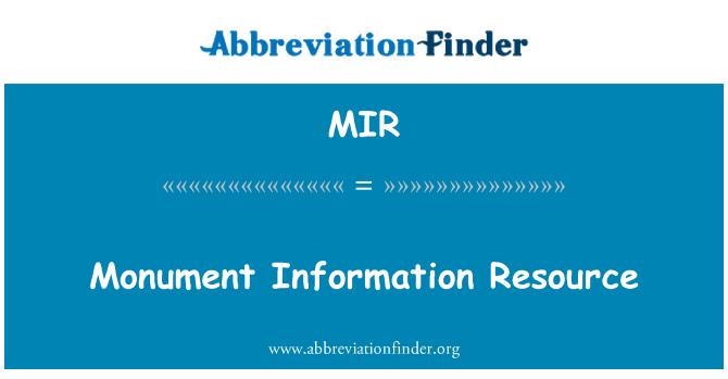 MIR: Monument Information Resource