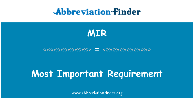 MIR: Most Important Requirement